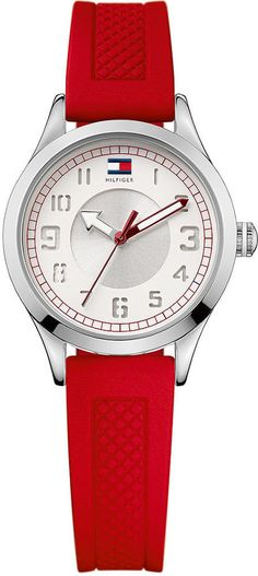Tommy Hilfiger Watch, Women's Red Silicone Strap 1781135 thestylecure.com