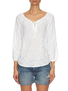 Londa broderie-anglaise lace-up blouse | Velvet By Graham & Spencer | Adopt the laid-back luxury of Los Angeles with Velvet by Graham & Spencer's white Londa blouse. Effortlessly elegant, the semi-sheer broderie anglaise falls softly over the body, and is detailed with an on-point lace-up front. It will work well with denim shorts and sandals on warm-weather days. White, semi-sheer broderie anglaise Scoop neck, ¾-length raglan bishop sleeves Self-tie lace-up front Slip on.