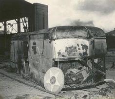 Damaged vehicle at Pearl Harbor