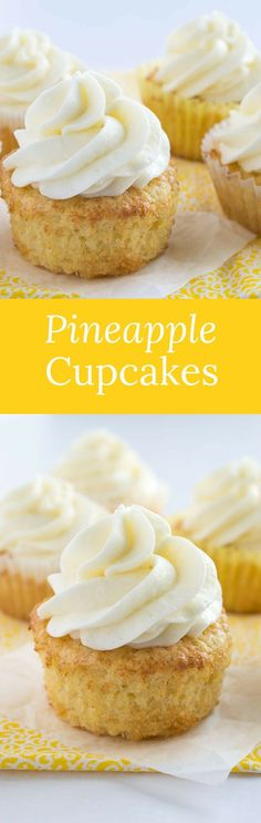 These pineapple cupcakes are moist, buttery, and loaded with crushed pineapple. They are paired perfectly with coconut buttercream! via @introvertbaker