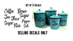 set of 8 kitchen decals for canisters and salt and pepper