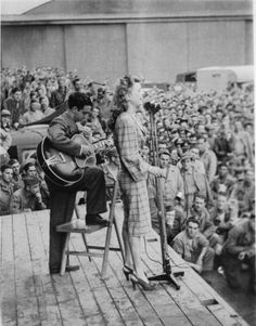 Frances Langford performs in USO show with Bob Hope, North Africa, 1943