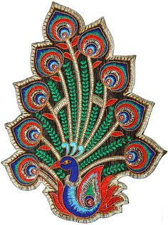 Multi-Color Embroidered Peacock Patch with Sequins - cute peacock shape for your felties silver cabbagio
