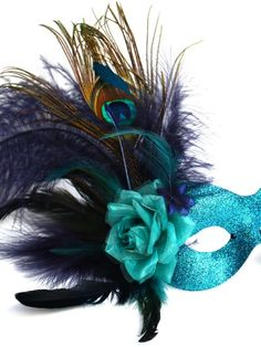 Turquoise Masquerade Masks with Feathers | Exotic Peacock, Navy & Teal Feather Eye Mask - Masque Boutique