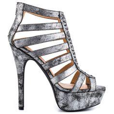 Just kidding again :P Kane - Silver Metallic by Penny Loves Kenny Silver High Heel Sandals, Silver Metallic Shoes, Metallic Sandals, Strappy Sandals Heels, Embellished Sandals, High Heels Stilettos, Sandals Platform, Strap Sandals, Zapatos
