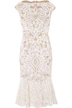 Alexander McQueen  Crochet-embroidered silk-organza dress