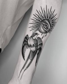 Swallow & eclipse, done at Sexy Tattoos, Tribal Tattoos, Girl Tattoos, Tattoos For Guys, Tattoos For Women, Eclipse Tattoo, I Tattoo, Skull, Instagram