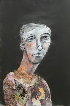 veronica cay portrait drawing mixed media - charcoal, ink, gesso, conte and fabric