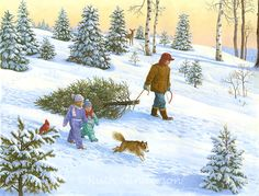 """Bringing Home The Christmas Tree"" by Ruth Sanderson"