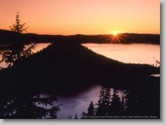 Sunrise on Crater Lake and Wizard Island, Crater Lake National Park, Oregon