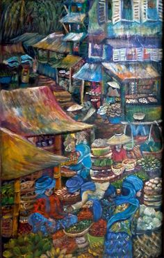 Original painting from 2015 - Pasar Minggu II - Jakarta Selatan (Market Scene in South Jakarta) - Acrylic on wooden Wardrobe Door (Lower Panel).Pasar Minggu is a subdistrict of South Jakarta, Jakarta, Indonesia. The area is known for its traditional Sunday market, famous for the fruit market. Historically, Pasar Minggu is a fruit cultivation area developed by the Dutch government during the colonial period. The central point of the cultivation area is the traditional market of Pasar Minggu…