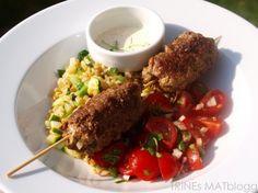 Kjøttboller med tomatsalat, squashbulgur og parmesankrem - TRINEs MATBLOGG