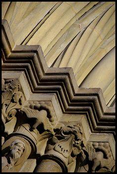 Decorative Accessories: column and arch details-  Romanesque Revival