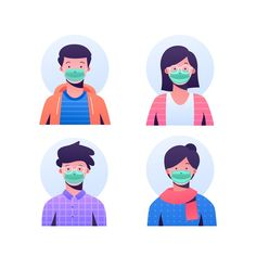 Realistic style of medical mask Avatar, Flat Design Icons, Icon Design, People Illustration, Character Illustration, Character Flat Design, Film Logo, Family Vector, Cartoon People