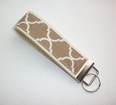 Key FOB / KeyChain / Wristlet brown tan natural by Laa766 preppy / fabric / cute / patterns / key chain / office, nurse, student id, badge / key leash / gifts / car key ring