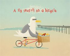 A sky seagull on a bicycle - An illustration by Duncan Beedie
