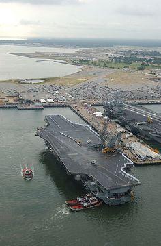 USS John F Kennedy (CV 67) arrives at Pier 12, Norfolk Naval Station, VA in 2002