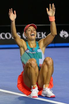 Angelique Kerber of Germany celebrates winning the Women's Singles Final against Serena Williams of the United States during day 13 of the 2016 Australian Open at Melbourne Park on January Get premium, high resolution news photos at Getty Images Female Volleyball Players, Tennis Players Female, Us Open, Australian Open, Angie Kerber, Wimbledon, Angelique Kerber, Dancer Photography, Senior Photos Girls
