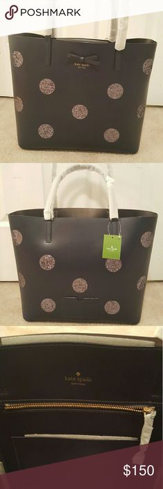 Kate Spade Auth Little Len Dewey Street Navy NWT BRAND NEW, never used, handle protectors still on Gorgeous Kate Spade Glitter Dot Tote  Color: Off Shore Height: 11.7 Depth: 5.5 Length: 7.9 Style # WKRU4112 Material: Leather with trim; Unlined Retail: $299 kate spade Bags Totes