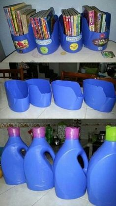 Empty plastic bottles for storing CD, booklets, etc. Empty plastic bottles for storing CD, booklets, etc. Empty Plastic Bottles, Plastic Bottle Crafts, Plastic Recycling, Plastic Milk Crates, Recycled Bottles, Diy Magazine Holder, Craft Storage, Cord Storage, Recycled Crafts