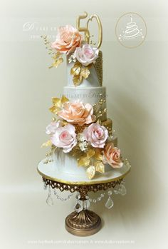 50th Golden Wedding Anniversary Cake Decorated with Peach & Pink Edible Roses.