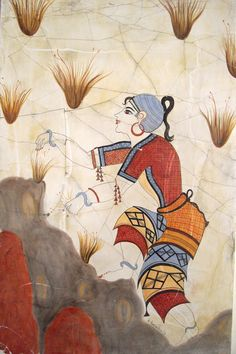 """""""Young Saffron-Gatherer"""", detail from the """"Saffron-Gatherers"""", wall-painting from Thera, Greece, c.1650 B.C."""
