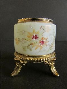 Victorian Antique Custard Wavecrest Enameled Toothpick Holder Ormolu Stand | eBay