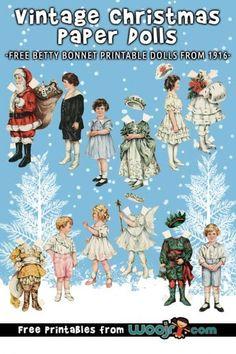 Vintage Christmas Paper Dolls – Betty Bonnet's Christmas Party Christmas Crafts For Gifts, Christmas Paper, Christmas Colors, Simple Christmas, Vintage Christmas, Creative Activities For Kids, Printable Activities For Kids, Crafts For Kids, Christmas Alphabet