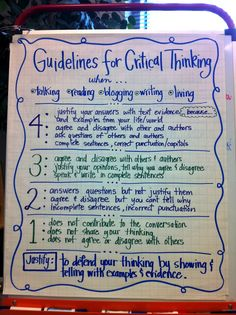 Critical Thinking Guidelines - while this looks like it was created for a younger classroom, these guidelines are desperately needed by my college students