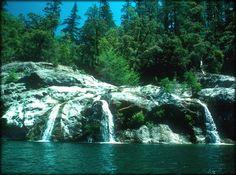 Streams into river.
