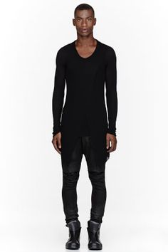 JULIUS Black Rayon Jersey LAyered Shirt
