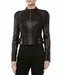 Leather Stitched & Belted Jacket  by Versace at Neiman Marcus.  **that's hot**
