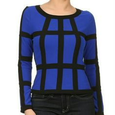 Window Pane Top Royal blue window pane top with zip back Tops Blouses