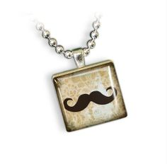 Antique Mustache Scrabble Tile Necklace Something Silver. $19.00. Home Studio Scrabble Jewelry. Nickel plated ball chain. Satisfaction Guaranteed. Scrabble tile. Antique Black Handlebar Mustache
