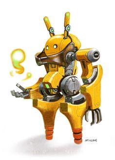 rabbit robot, 민수 김 on ArtStation at https://www.artstation.com/artwork/D2aWe