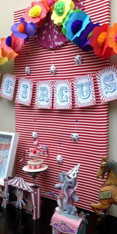 Circus birthday party backdrop and banner! See more party planning ideas at CatchMyParty.com!