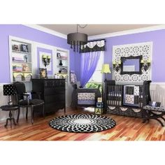 Black White & Purple Girl Crib Nursery Bedding Set