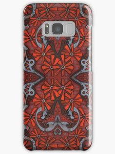 """""""October Blooming, bohemian arabesque pattern in orange, gray and black"""" Samsung Galaxy Cases & Skins by clipsocallipso 
