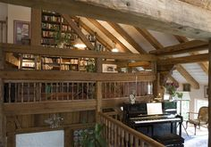 Library and music area in a former barn at LIPPERGÜT'L - Fuessen, Bavaria