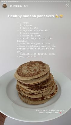 Healthy Breakfast Recipes, Healthy Snacks, Snack Recipes, Cooking Recipes, Healthy Banana Pancakes, Food Goals, Aesthetic Food, Food Cravings, Food Inspiration