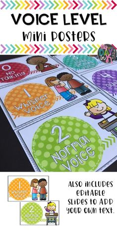 Voice level mini posters are a great way to visually show your class appropriate volume and helps to manage the noise level throughout the day. I like to keep them on a ring and before we start each activity we talk about what voice level we should use. Classroom Norms, Future Classroom, Classroom Ideas, Classroom Pictures, Classroom Organization, Classroom Management, Behavior Management, Class Management, Voice Level Charts