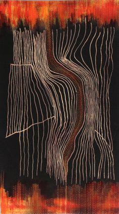 "Marilyn Gillis Fault Lines 1 (23""w by 41""h) Fiber art"