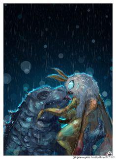 mothra x godzilla All Godzilla Monsters, Godzilla Comics, Godzilla Vs, King Kong, Mothra Movie, Guardian Of The Moon, Godzilla Wallpaper, Legendary Pictures, Hippie Art