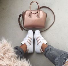 givenchy antigona mini metallic handbag, cross body bag, grey skinny jeans, furry coat, adidas sneakers, street wear, fashion inspo, outfit, ootd, style