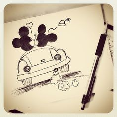 Drawing Mickey minnie mouse car