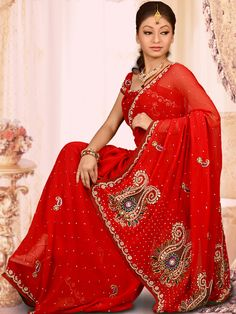 #RedSaree With Blouse