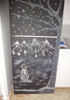 first you sand your fridge  second paint it with chalkboard paint  and voila diy chalkboard refrigerator!