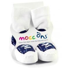 Mocc Ons are a moccasin style slipper sock that are made with high quality washable leather soles stitched to a soft stretch cotton sock so they are comfortable and warm. Slipper Socks, Womens Slippers, Navy Blue Sneakers, Fashion Slippers, Fashion Shoes, Shoe Deals, Cotton Socks, Only Fashion