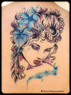 Sketchy girl with blue watercolor flowers by Nancy Abraham Tattoos Watercolor Flowers, Watercolor Tattoo, Color Tattoos, Beautiful, Blue, Tatuajes, Floral Watercolor, Color Tattoo, Temp Tattoo