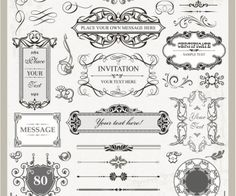 Decorative wedding frames vector